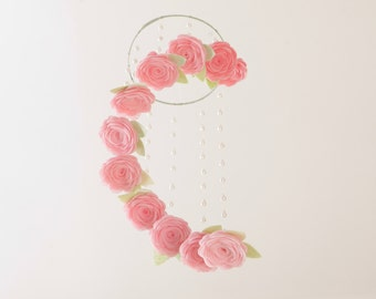 Baby Girl Nursery Mobile Crib Mobile Girl Nursery Decor Baby Mobile Baby Mobiles Hanging Flower Mobile Floral Mobile Felt Mobile Cot Mobile