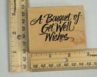 Wooden Mounted 2x3 A Bouquet of Wishes Rubber Stamp for cardmaking or stationary