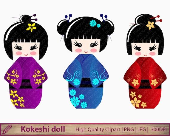 kokeshi dolls clipart japanese dolls clip art japan kawaii rh etsystudio com japanese clip art coloring pages japanese clip art free