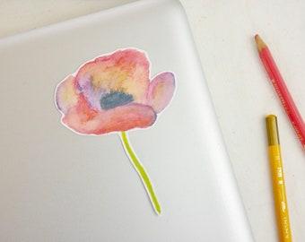 Poppy Water Resistant Die Cut Sticker - Watercolor Flower Sticker - Beautiful Laptop Sticker