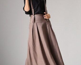 holiday skirt, brown skirt, linen skirt, spring skirt, skirt with pockets, maxi skirt, casual skirt, pleated skirt, womens skirts 1033