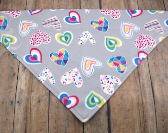 It's Raining Hearts. Reversible cotton graphic over-the-collar bandana for dogs. Valentine's Day. Rainbow. Love.