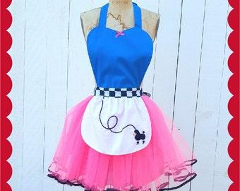 Fifties costume, Poodle skirt costume apron, retro apron, FIFTIES apron, full apron, 50s waitress costume,, costume apron, Hallowwen