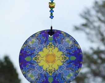 Forget-Me-Not Glass Suncatcher Boho Chic Mandala Chakra New Age Sacred Geometry Hippie Kaleidoscope Unique Gift For Her Gypsy Unforgettable