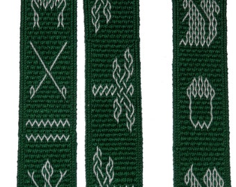 A collection of heraldic tablet weaving patterns for 28 cards plus selvage.