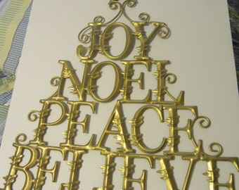 Wall Decor Holiday Unique Vintage Large Gold Christmas Joy Noel Peace Believe Holiday Decor Home Decor Gift Idea Wall Hanging