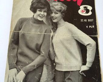 Wendy vintage 1960s knitting pattern no.172 crew polo neck turtleneck English