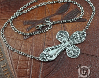 Horizontal Spoon Cross Necklace - Inspired by Antique Victorian Silverware - Pewter Jewelry Creation By Doctor Gus - Ornate Replica Cross