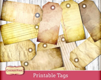 Vintage tags, old paper junk journal tags, printable tags, shabby old paper crafting scrapbook supplies, Instant Download