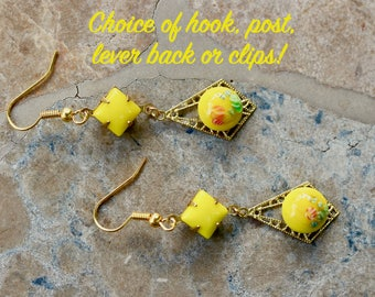 Upcycled Vintage Earrings, Reclaimed Assemblage, Pierced, Gold, Yellow, Opaque Glass, Hook Post, Choice, Jennifer Jones, OOAK - Sunshine