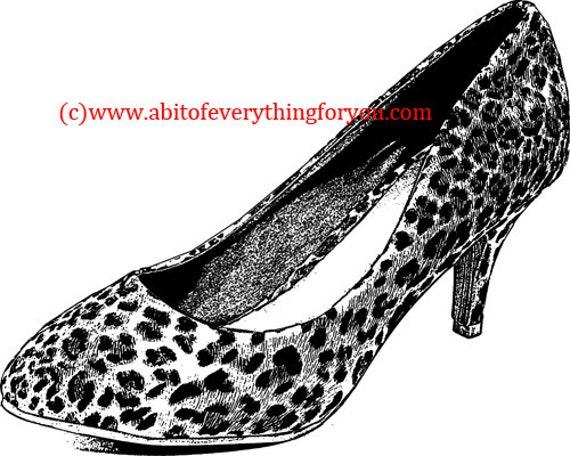 leopard high heel shoe clipart png Digital Download printable fashion art Image graphics digital stamp