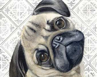 Pug Watercolor Painting, Animal Art, Pug Painting, Pug Watercolor, Pug Art, Dog Art, Pug, Pug Decor, Pug Print, Art