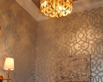 Large Trellis Pattern Wall Stencil - Designer Wallpaper Painting - Modern Moroccan Wall Design Reusable Stencil