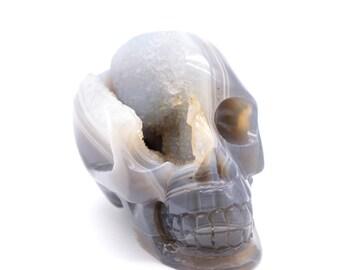 Natural  Geode Agate  Handcarved Skull Crystal Healing Mineral