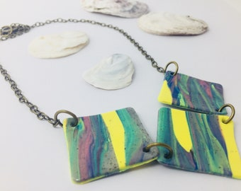 Geometric Necklace Polymer Clay Jewelry Statement Necklace Boho Chic Necklace Collier Femme - Trending Now Gift for Mom Mothers Day Gift