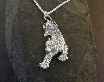 Sterling Silver Tiger Pendant on a Sterling Silver Chain