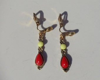 Ruby Red and Pale Yellow Belly Dancer Dangle CLIP ON Earrings