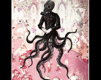 """Impression 11 x 14""""- Victoriandustrial 9 - poulpe victorien révolution industrielle tentacules Steampunk Fantasy Edwardian gothique masque à gaz Pop"""