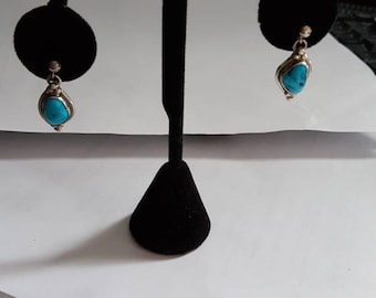Sterling Silver Turquoise Teardrop Dangle Earrings Navajo Signed M Silversmith