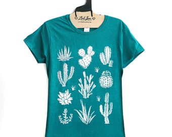 Large - Bright Teal Tri-Blend Tee with Cactus Screen Print