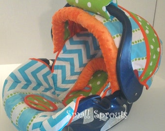 Landen~Blue Chevron/Stripe/Lime Polka Dot/Orange Minky Dot Infant Car Seat Cover 5 piece set