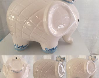 NEW Personalized LUCKY Large White and Blue  Elephant Crown Piggy  Bank Newborns , Birthday, Boys, Ring Bearer,Baby Shower Gift Centerpiece