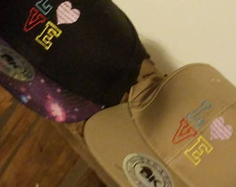 Embroidered Flatbrim Hats LOVE in Galaxy or Tan