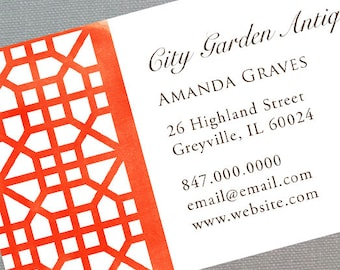 Trellis Pattern Chinoiserie Fret Business Card, Orange-Red, Set of 50