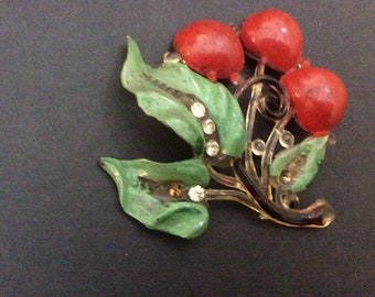 Vintage Celluloid Pin with Cherries & Leaves with Rhinestones