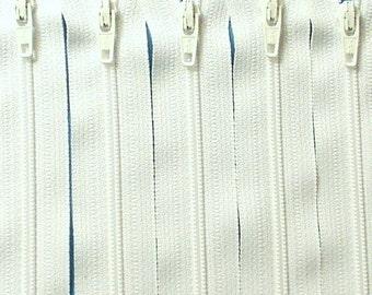 SALE Wholesale Twenty-five 5 Inch White Ykk Zippers Color 501
