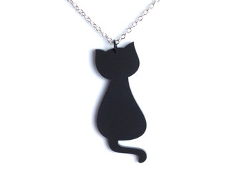 Black cat necklace, cute black cat jewelry - black cat charm on silver plated chain