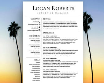 Resume Template, CV Template for Word, Cover Letter, Two Page Resume, Teacher Resume, Modern Resume, INSTANT DOWNLOAD