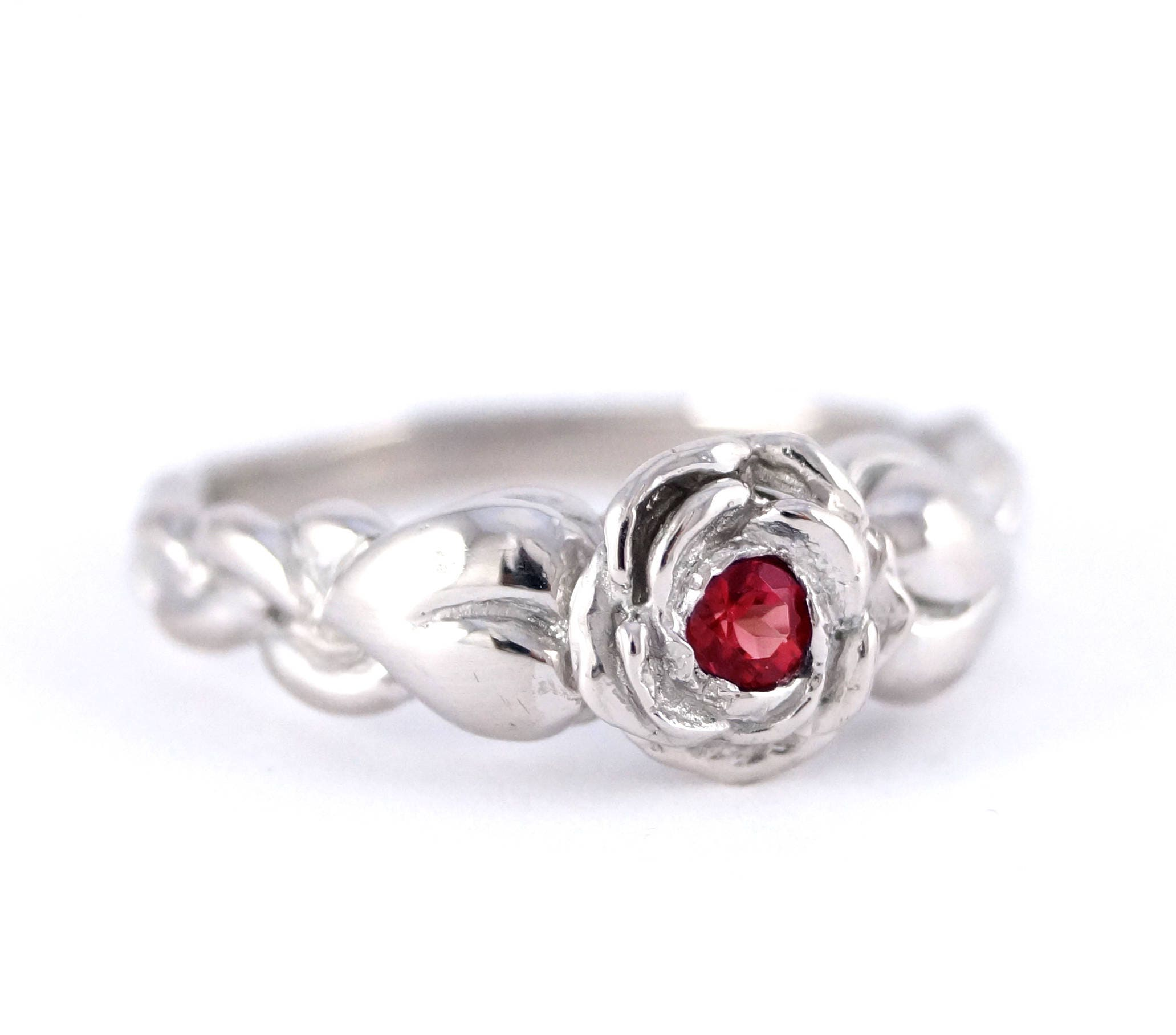 Romantic Silver Rose Ring with Leaves Beauty and the Beast Belle