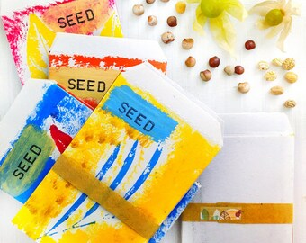 Seed Saving Packets - Mini Handmade Envelopes Set of 5 - Unique Gift for Gardeners, OOAK Stencil Art