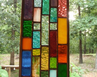Stained Glass Christian Cross, Hanging