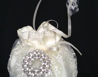 Ivory or White Lace/Satin Bridal Purse, Pearl/Crystal Embellishment, Bridal Money Bag