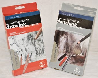 Crescendo Art Special VALUE 15 Pcs Sketching & 12 Pcs Drawing Set New Brand And REAL QUALITY!