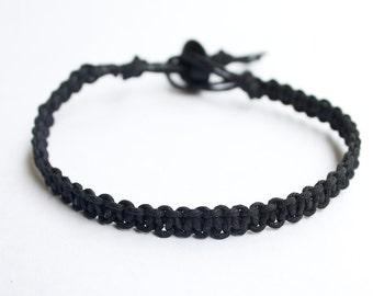 Black Hemp Bracelet Gift for Men Friendship Mens Bracelet Womens Bracelet, Gift for Him, Gift for Her, Handmade Jewelry