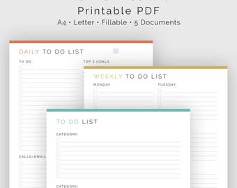 To Do List Bundle (5 documents) - Fillable - Printable PDF - Task Management, Productivity Planner - Business Planner - Instant Download
