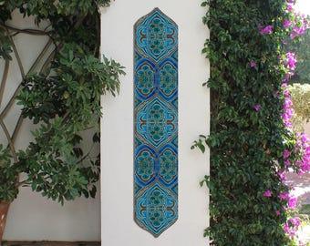 DECORATIVE TILES, set of 6 ceramic tiles to decorate a column, Moroccan wall art, Garden art, Garden decor, Ceramic tile,Moroccan decor,15cm