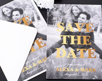 """Gold Flair - Save The Date Cards - 5"""" x 7"""" Wedding Announcement Cards - Save The Dates - Personalized Save the Dates - Photo Cards"""