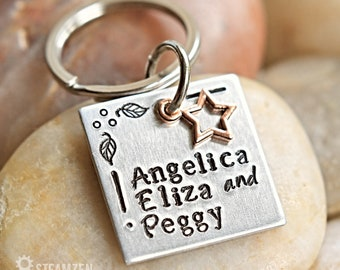 The schuyler sisters Angelica, Eliza and Peggy Key chain - Hamilton Inspired Key Chain - Hamilfan Gift - Actor Gift - Theater Gift - Unisex