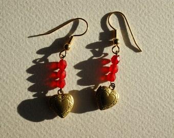 Golden heart locket earrings