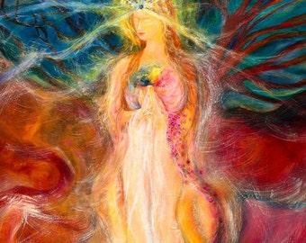 Art Print:Queen of Heaven and Earth-Divine Mother-Goddess-Sacred Feminine-Healing Art-Bodhisattva -Sacred Art- Shari Landau-SacredArtbyShari