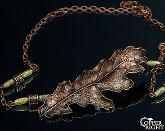 Celtic Oak necklace Woodland forest necklace jewelry statement Fantasy bohemian necklace Copper oak leaf jewelry Eco nature jewelry