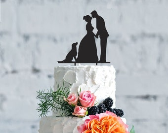 Wedding with dog cake topper- Customizable cake topper with dog, unique cake topper, your dog wedding Cake Topper