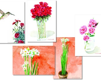 Series of Five Handmade Blank Cards - Flowers