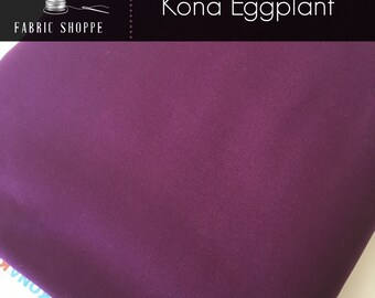 Kona cotton solid quilt fabric, Kona EGGPLANT 1133, Purple fabric, Solid fabric Yardage, Kaufman, Cotton fabric, Choose the cut