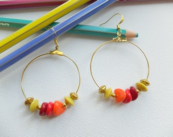 Hoop earrings golden yellow, Orange and red beads