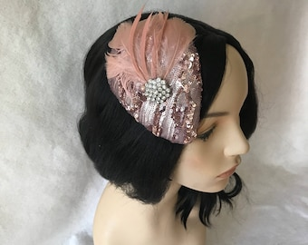 Rose Gold fascinator hat, Blush Pink fascinator, Bridesmaids fascinator, mini wedding hat, light pink fascinator, vintage fascinator hat